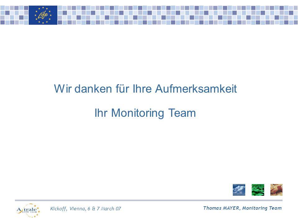 Kickoff, Vienna, 6 & 7 March 07 Thomas MAYER, Monitoring Team Wir danken für Ihre Aufmerksamkeit Ihr Monitoring Team