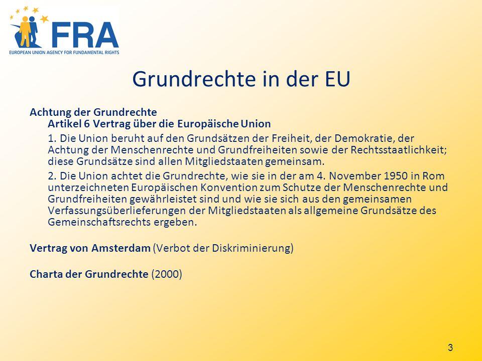 3 Grundrechte in der EU Achtung der Grundrechte Artikel 6 Vertrag über die Europäische Union 1.