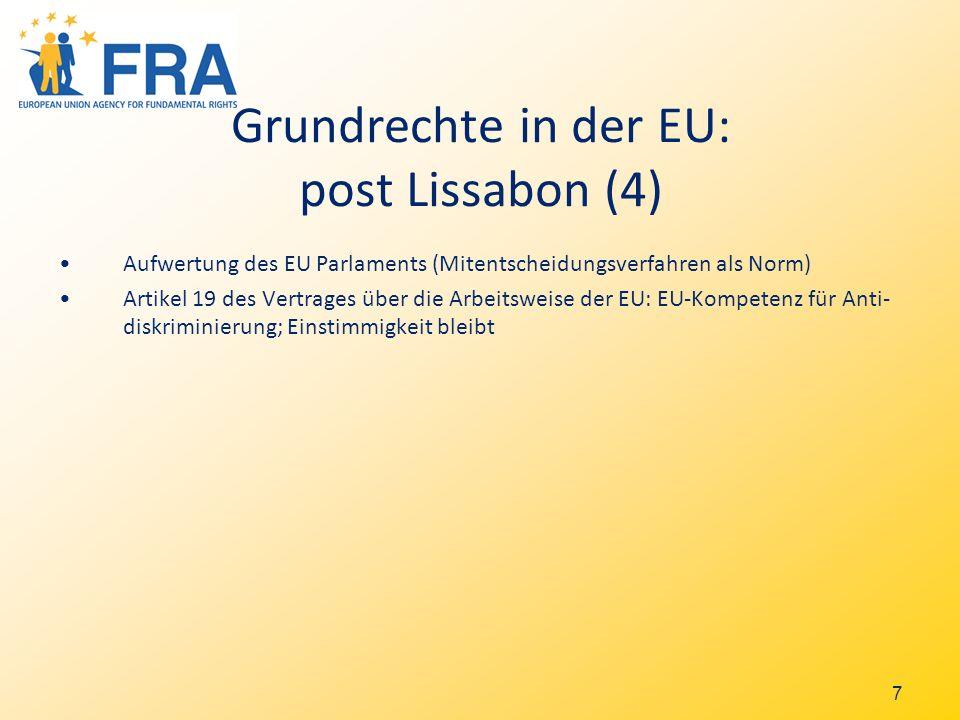 8 Charta der Grundrechte der Europäischen Union Politische Vereinbarung Dezember 2000 (im Amtsblatt veröffentlicht) Sie ist rechtlich bindend, gemäß Artikel 6 des EU Vertrages mit den Verträgen gleichrangig (EU Primärrecht).