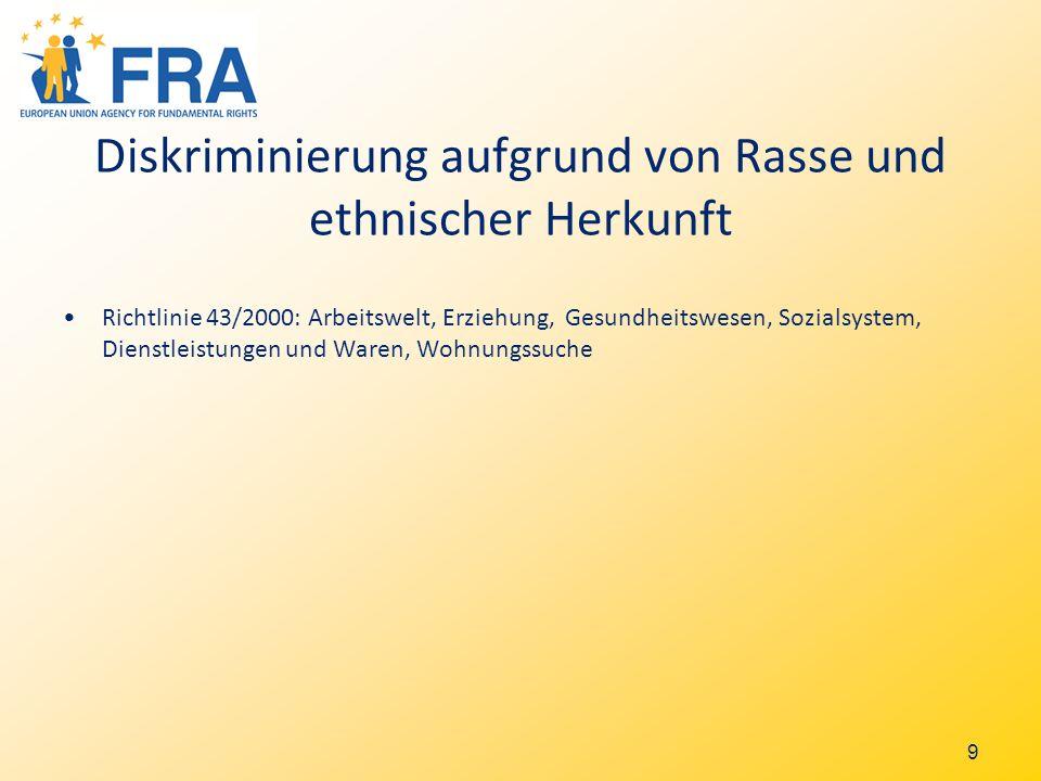 10 Andere Diskriminierungsgr ü nde allgemeine Antidiskriminierungsrichtlinie 78/2000 beschränkt auf die Arbeitswelt: Religion, Behinderung, Sexuelle Orientierung, Alter