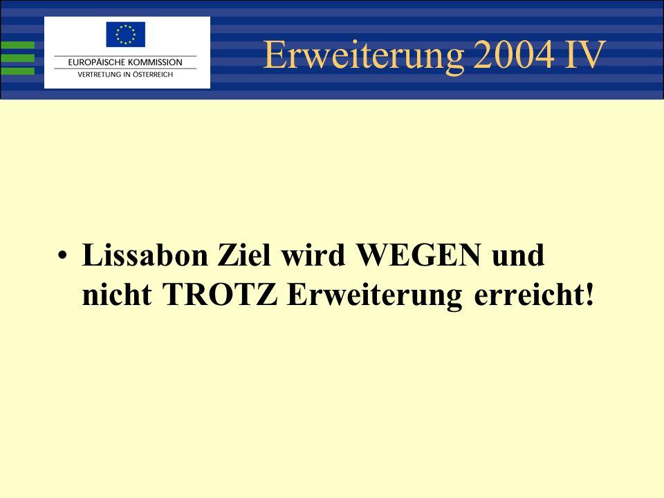 Erweiterung 2004 IV Lissabon Ziel wird WEGEN und nicht TROTZ Erweiterung erreicht!