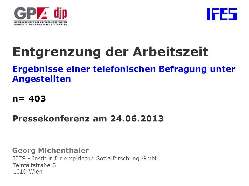IFES - Institut für empirische Sozialforschung GmbH Teinfaltstraße 8 1010 Wien Entgrenzung der Arbeitszeit Ergebnisse einer telefonischen Befragung unter Angestellten n= 403 Pressekonferenz am 24.06.2013 Georg Michenthaler