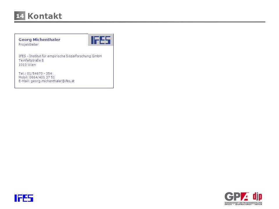 14 Kontakt Georg Michenthaler Projektleiter IFES - Institut für empirische Sozialforschung GmbH Teinfaltstraße 8 1010 Wien Tel.: 01/54670 - 354 Mobil: 0664/401 37 51 E-Mail: georg.michenthaler@ifes.at