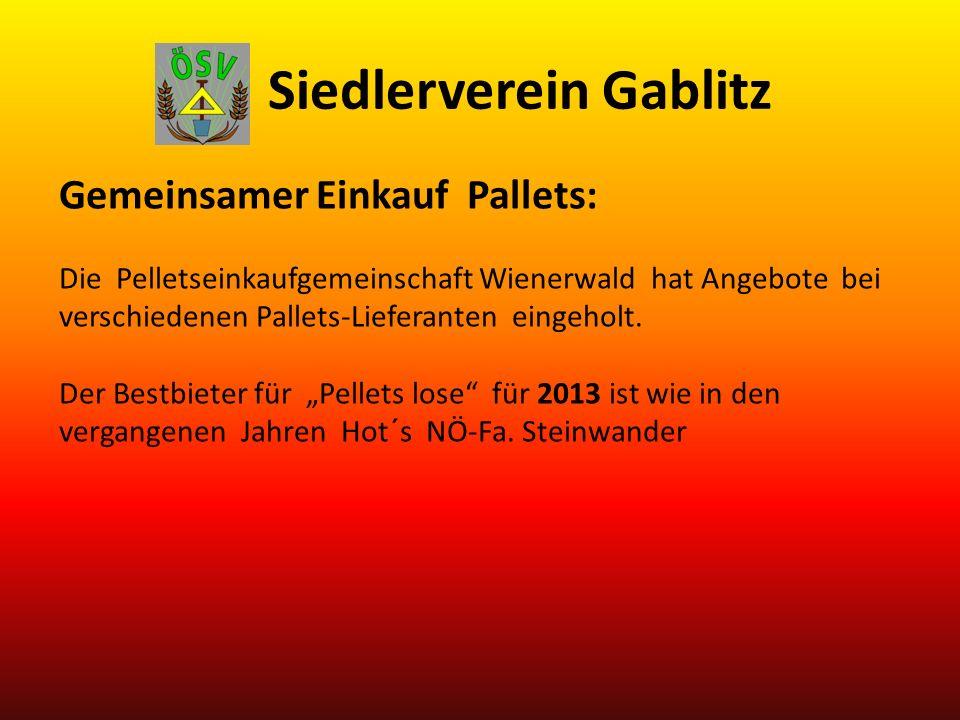 Siedlerverein Gablitz Gemeinsamer Einkauf Pallets: Die Pelletseinkaufgemeinschaft Wienerwald hat Angebote bei verschiedenen Pallets-Lieferanten eingeholt.