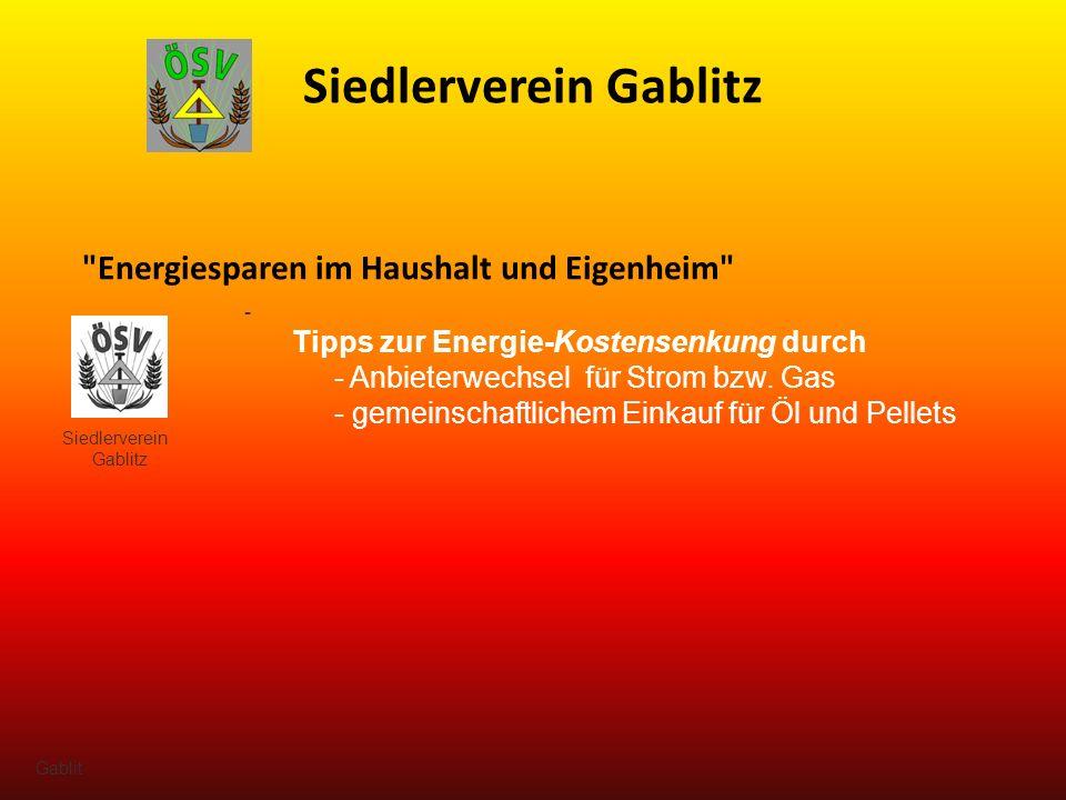 Siedlerverein Gablitz - Tipps zur Energie-Kostensenkung durch - Anbieterwechsel für Strom bzw.