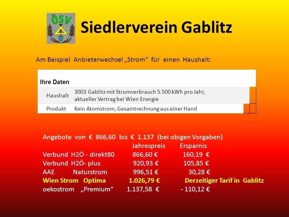 Siedlerverein Gablitz Am Beispiel Anbieterwechsel Strom für einen Haushalt: Ihre Daten Haushalt 3003 Gablitz mit Stromverbrauch 5.500 kWh pro Jahr, aktueller Vertrag bei Wien Energie ProduktKein Atomstrom, Gesamtrechnung aus einer Hand Angebote von 866,60 bis 1.137 (bei obigen Vorgaben) Jahrespreis Ersparnis Verbund H2Ö - direkt80 866,60 160,19 Verbund H2Ö- plus 920,93 105,85 AAE Naturstrom 996,51 30,28 Wien Strom Optima 1.026,79 Derzeitiger Tarif in Gablitz oekostrom Premium 1.137,58 - 110,12
