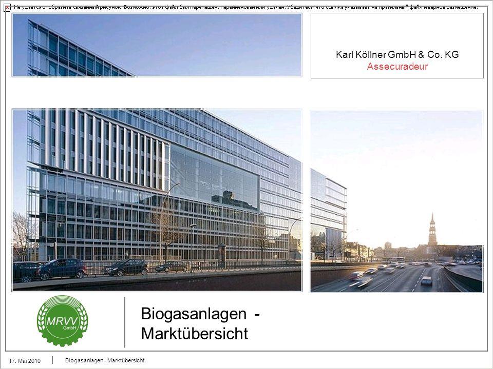 Karl Köllner GmbH & Co. KG Assecuradeur 17. Mai 2010 Biogasanlagen - Marktübersicht