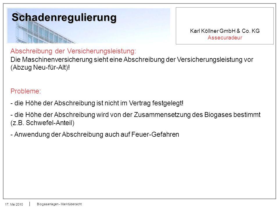 Karl Köllner GmbH & Co. KG Assecuradeur 17. Mai 2010 Biogasanlagen - Marktübersicht Schadenregulierung Abschreibung der Versicherungsleistung: Die Mas