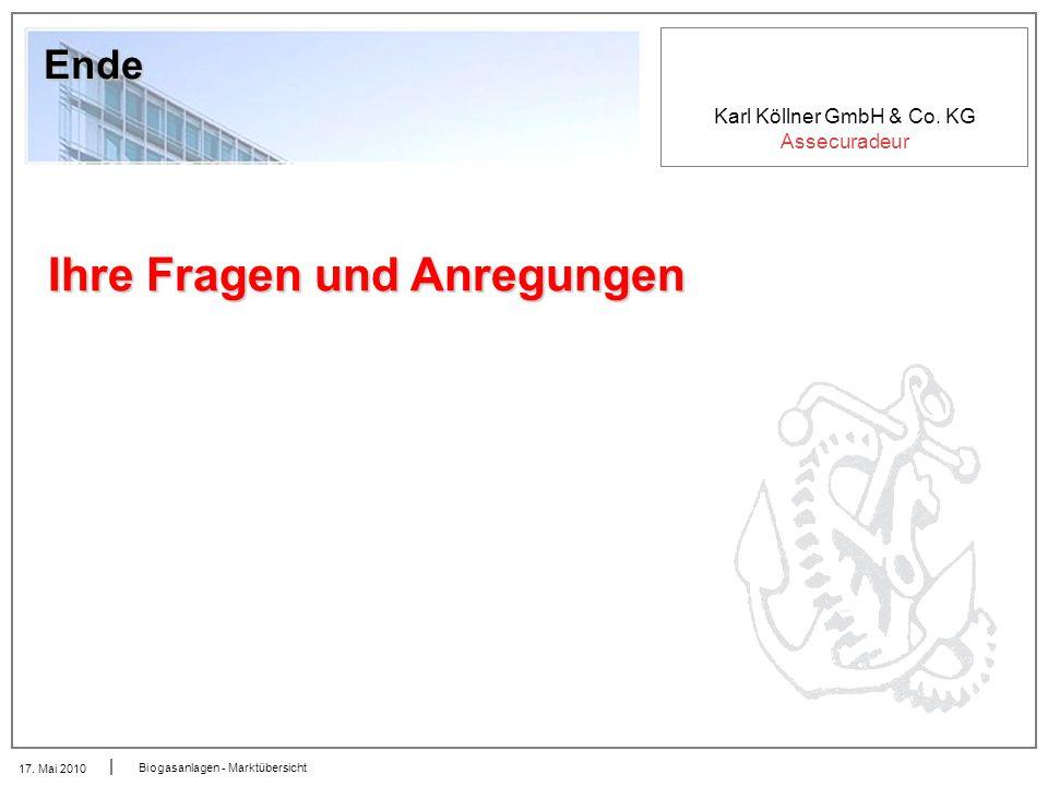 Karl Köllner GmbH & Co. KG Assecuradeur 17. Mai 2010 Biogasanlagen - Marktübersicht Ende Ihre Fragen und Anregungen