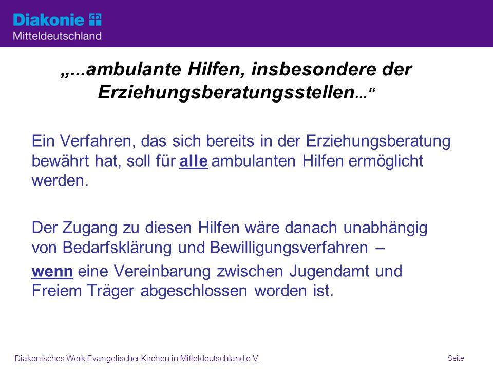 Seite Diakonisches Werk Evangelischer Kirchen in Mitteldeutschland e.V....ambulante Hilfen, insbesondere der Erziehungsberatungsstellen...