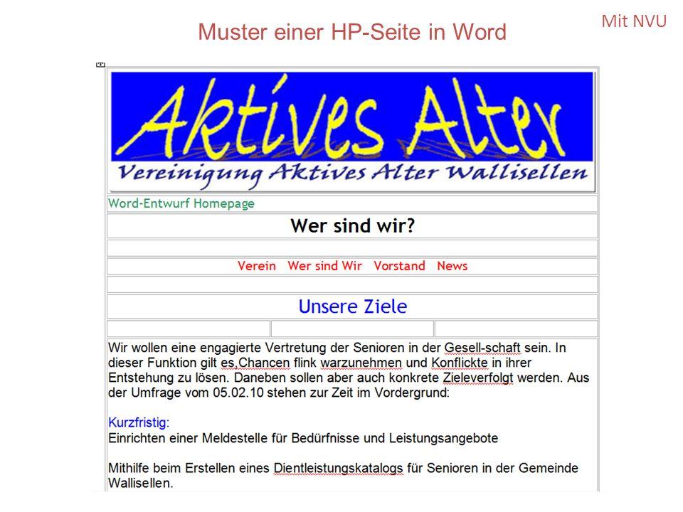 Mit NVU Muster einer HP-Seite in Word