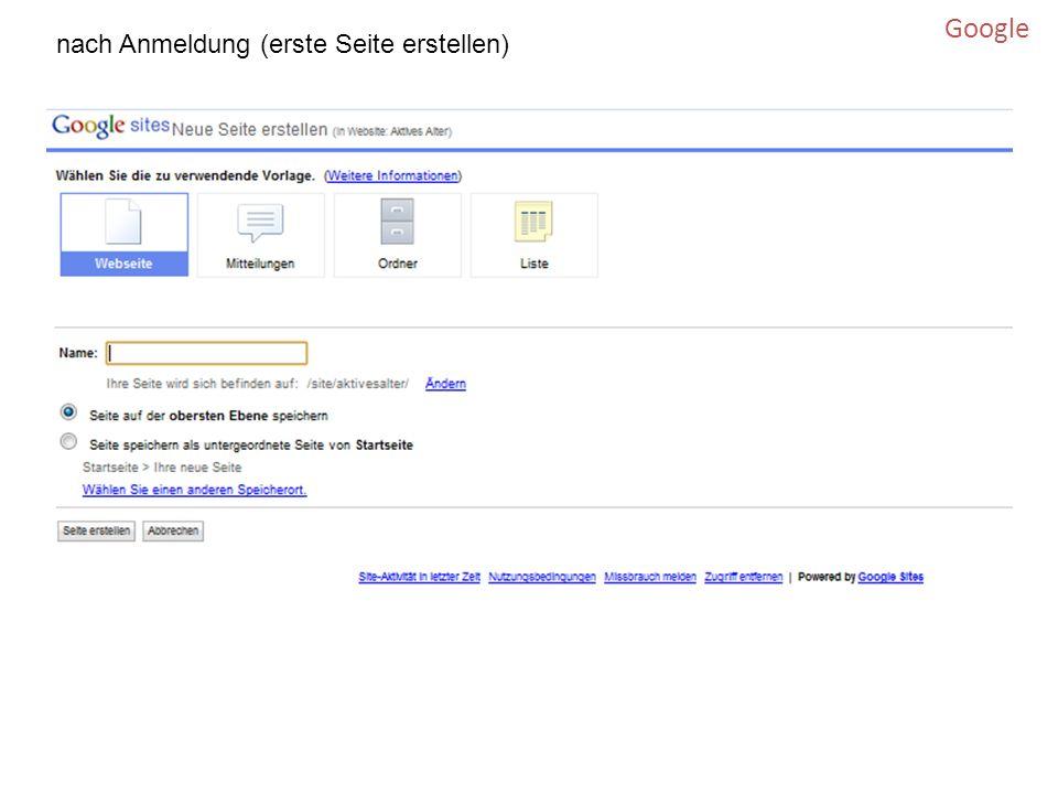 Google nach Anmeldung (erste Seite erstellen)