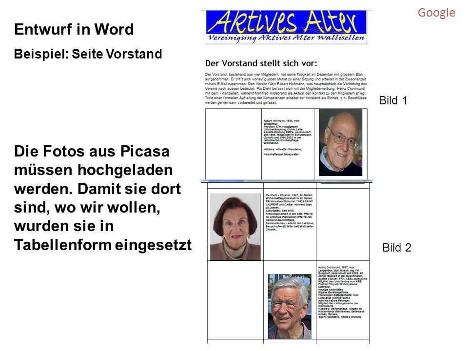 Google Entwurf in Word Beispiel: Seite Vorstand Die Fotos aus Picasa müssen hochgeladen werden.