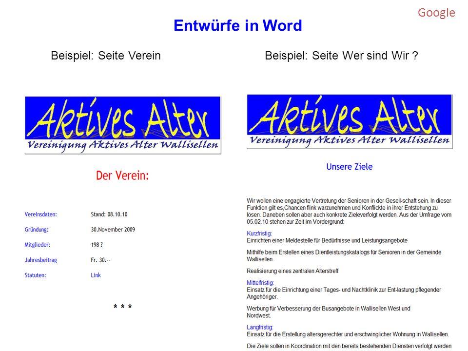 Google Beispiel: Seite VereinBeispiel: Seite Wer sind Wir Entwürfe in Word