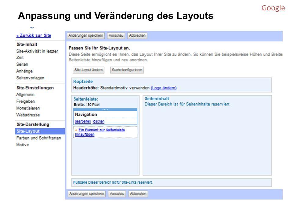 Google Anpassung und Veränderung des Layouts