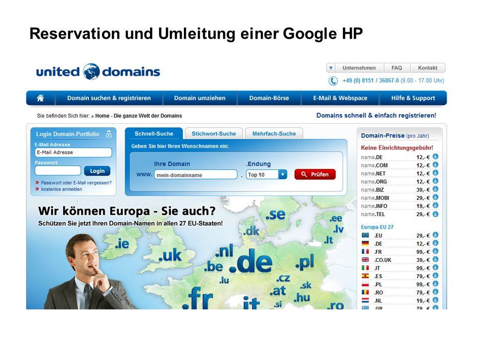 Reservation und Umleitung einer Google HP