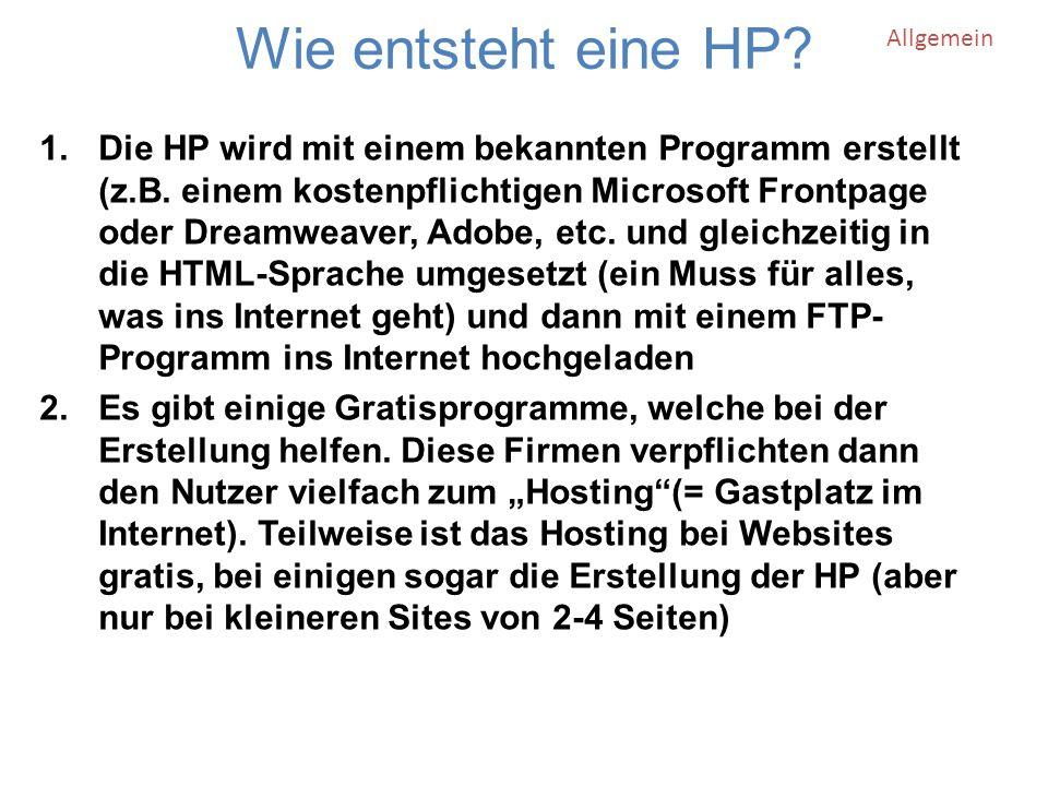 Wie entsteht eine HP. 1.Die HP wird mit einem bekannten Programm erstellt (z.B.