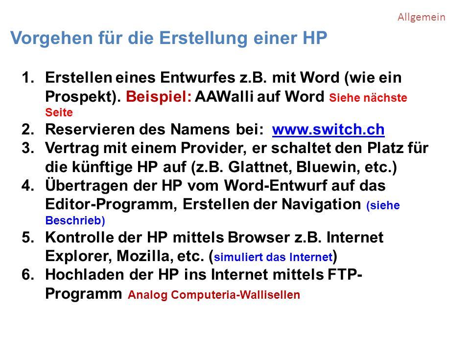 Vorgehen für die Erstellung einer HP 1.Erstellen eines Entwurfes z.B.