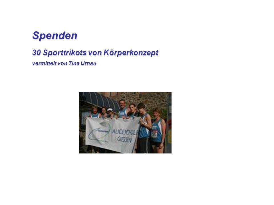 Spenden Spenden 30 Sporttrikots von Körperkonzept vermittelt von Tina Urnau