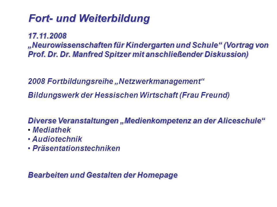 Fort- und Weiterbildung Fort- und Weiterbildung 17.11.2008 Neurowissenschaften für Kindergarten und Schule (Vortrag von Prof. Dr. Dr. Manfred Spitzer