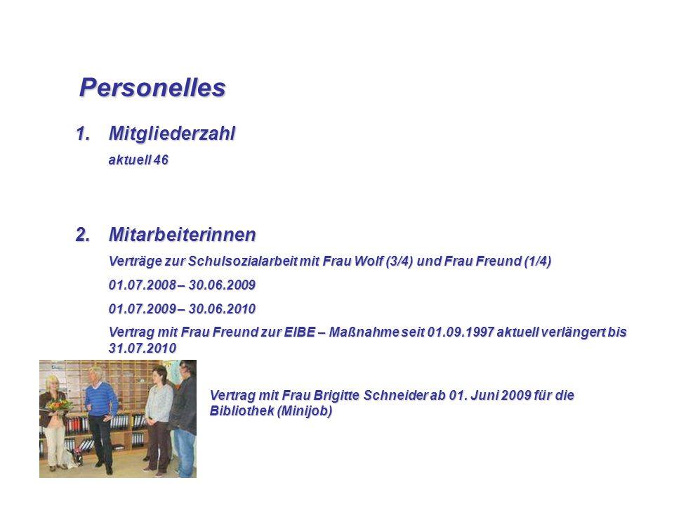 Personelles Personelles 1.Mitgliederzahl aktuell 46 2.Mitarbeiterinnen Verträge zur Schulsozialarbeit mit Frau Wolf (3/4) und Frau Freund (1/4) 01.07.
