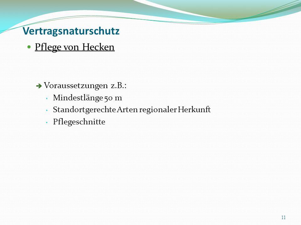 Vertragsnaturschutz Pflege von Hecken Voraussetzungen z.B.: Mindestlänge 50 m Standortgerechte Arten regionaler Herkunft Pflegeschnitte 11