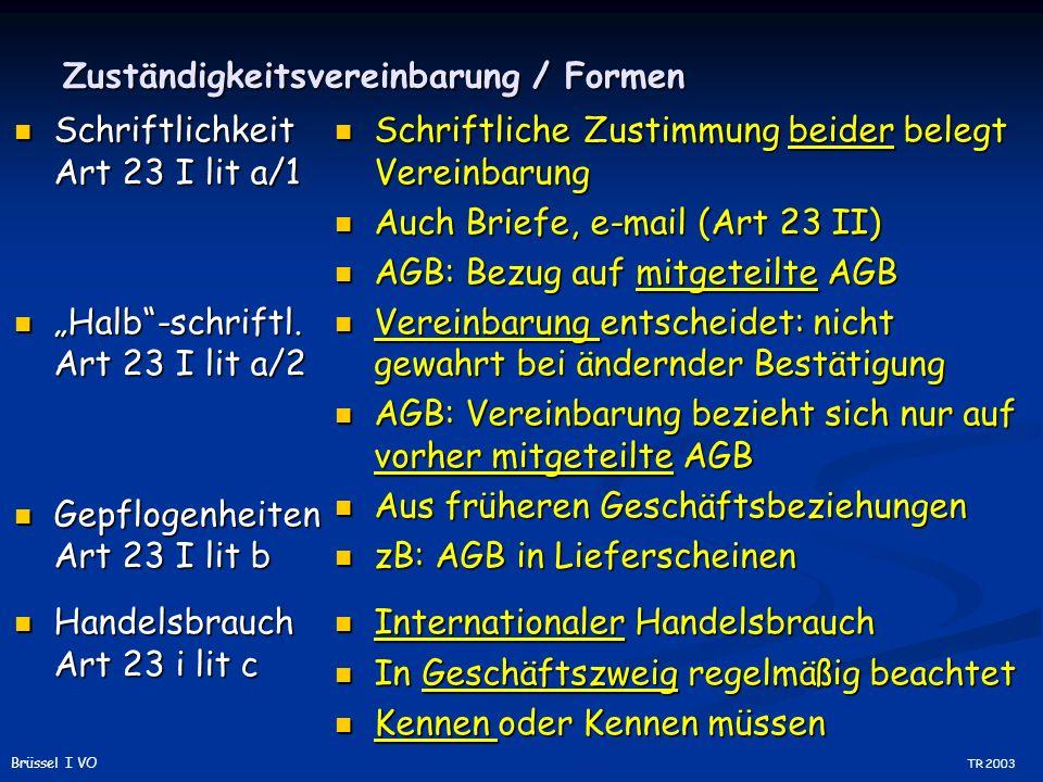 Zuständigkeitsvereinbarung / Formen Schriftlichkeit Art 23 I lit a/1 Schriftlichkeit Art 23 I lit a/1 Halb-schriftl.