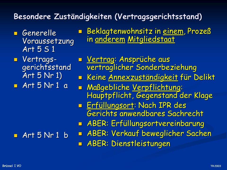Besondere Zuständigkeiten (Vertragsgerichtsstand) Generelle Voraussetzung Art 5 S 1 Generelle Voraussetzung Art 5 S 1 Vertrags- gerichtsstand Art 5 Nr 1) Vertrags- gerichtsstand Art 5 Nr 1) Art 5 Nr 1 a Art 5 Nr 1 a Art 5 Nr 1 b Art 5 Nr 1 b Beklagtenwohnsitz in einem, Prozeß in anderem Mitgliedstaat Vertrag: Ansprüche aus vertraglicher Sonderbeziehung Keine Annexzuständigkeit für Delikt Maßgebliche Verpflichtung: Hauptpflicht, Gegenstand der Klage Erfüllungsort: Nach IPR des Gerichts anwendbares Sachrecht ABER: Erfüllungsortvereinbarung ABER: Verkauf beweglicher Sachen ABER: Dienstleistungen TR 2003 Brüssel I VO
