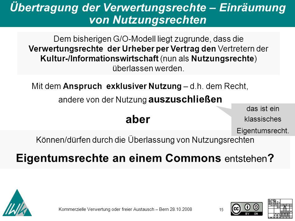 15 Kommerzielle Verwertung oder freier Austausch – Bern 28.10.2008 Übertragung der Verwertungsrechte – Einräumung von Nutzungsrechten Dem bisherigen G