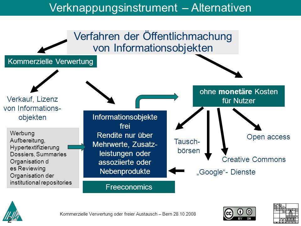 Kommerzielle Verwertung oder freier Austausch – Bern 28.10.2008 23 Verkauf, Lizenz von Informations- objekten ohne monetäre Kosten für Nutzer Kommerzi