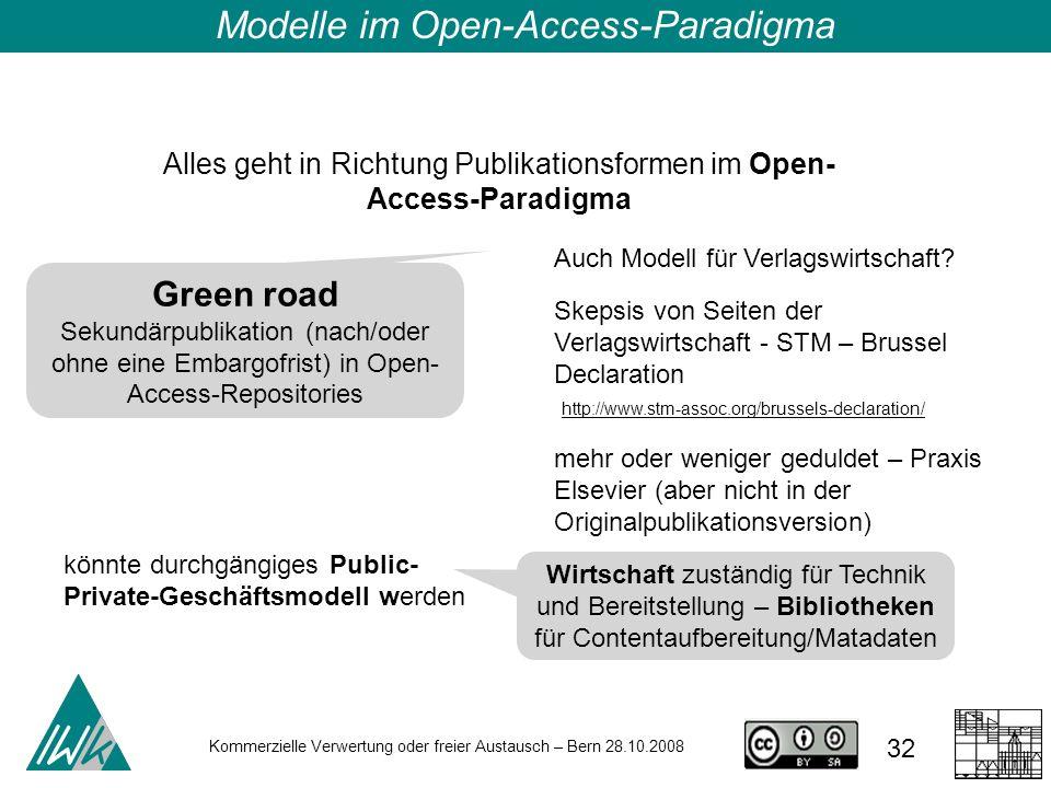32 Kommerzielle Verwertung oder freier Austausch – Bern 28.10.2008 Alles geht in Richtung Publikationsformen im Open- Access-Paradigma Green road Seku