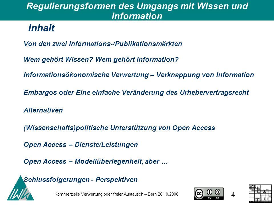 Kommerzielle Verwertung oder freier Austausch – Bern 28.10.2008 25 Budapest Open Access Initiative http://www.soros.org/openaccess/ http://www.soros.org/openaccess/ Bethesda Statement on Open Access Publishing http://www.earlham.edu/~peters/fos/bethesda.htm http://www.earlham.edu/~peters/fos/bethesda.htm Berlin Declaration on Open Access http://oa.mpg.de/openaccess-berlin/berlindeclaration.html http://oa.mpg.de/openaccess-berlin/berlindeclaration.html Creative-Commons-Lizenzierung http://creativecommons.org/ http://creativecommons.org/ Open Access – Allgemeine Prinzipien