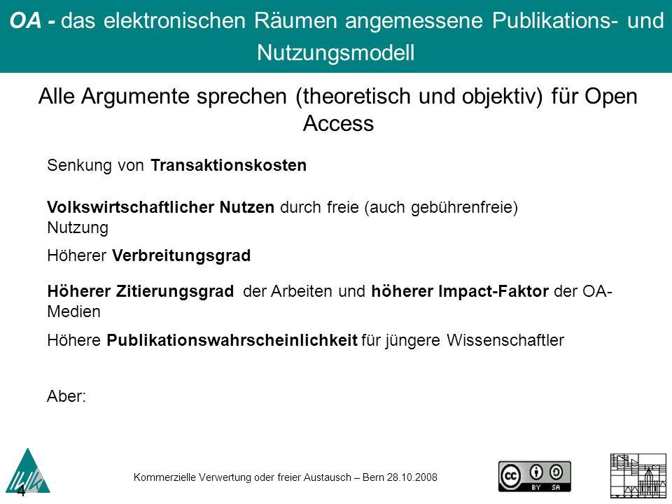 Kommerzielle Verwertung oder freier Austausch – Bern 28.10.2008 43 OA - das elektronischen Räumen angemessene Publikations- und Nutzungsmodell Senkung