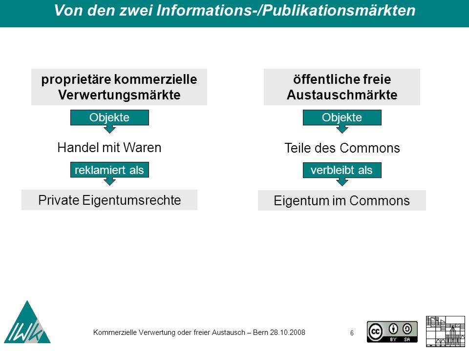 17 Kommerzielle Verwertung oder freier Austausch – Bern 28.10.2008 Embargos oder: Eine einfache Veränderung im Urhebervertrags- recht Von den zwei Informations-/Publikationsmärkten Commons - Wem gehört Wissen.