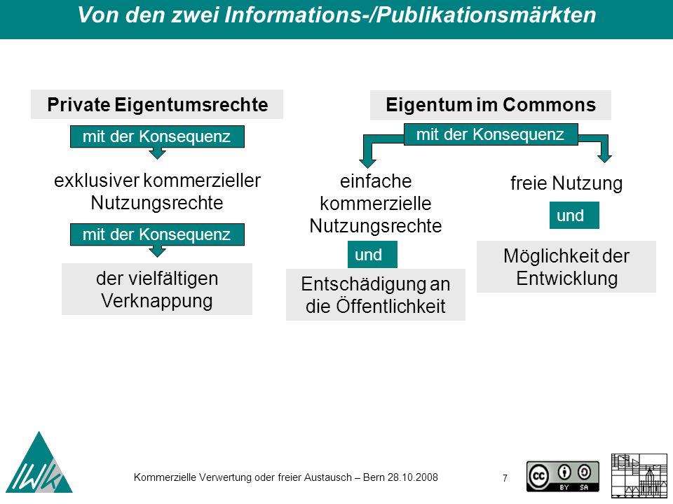 7 Kommerzielle Verwertung oder freier Austausch – Bern 28.10.2008 Private Eigentumsrechte Eigentum im Commons exklusiver kommerzieller Nutzungsrechte