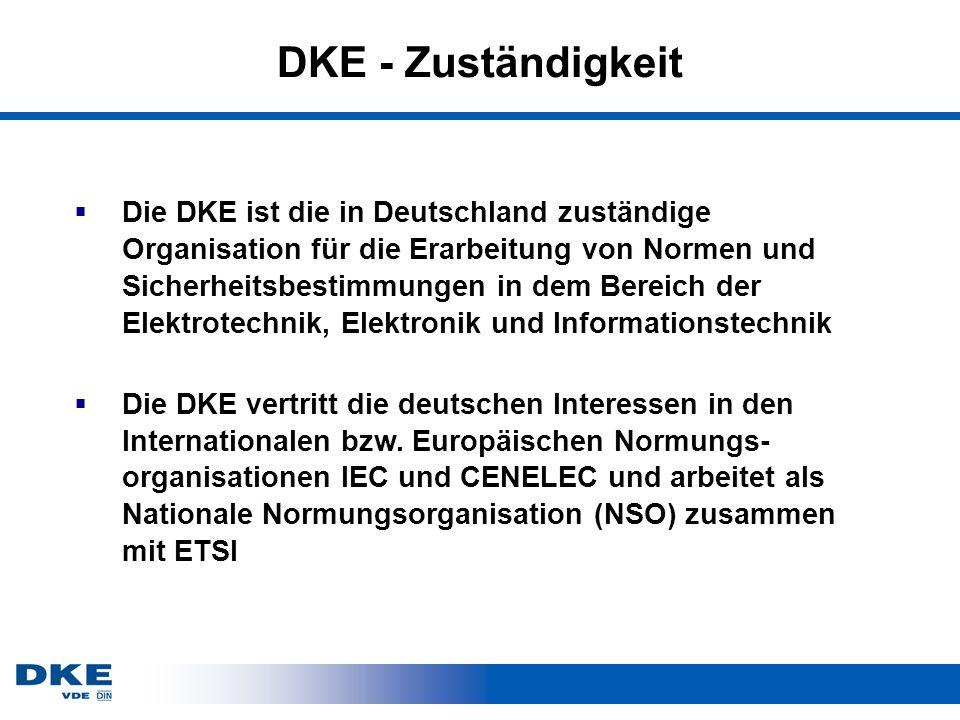 DKE - Zuständigkeit Die DKE ist die in Deutschland zuständige Organisation für die Erarbeitung von Normen und Sicherheitsbestimmungen in dem Bereich der Elektrotechnik, Elektronik und Informationstechnik Die DKE vertritt die deutschen Interessen in den Internationalen bzw.