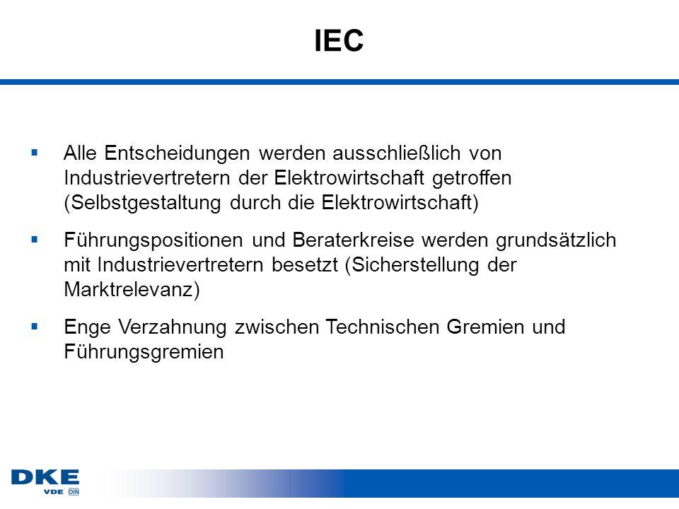 IEC Alle Entscheidungen werden ausschließlich von Industrievertretern der Elektrowirtschaft getroffen (Selbstgestaltung durch die Elektrowirtschaft) Führungspositionen und Beraterkreise werden grundsätzlich mit Industrievertretern besetzt (Sicherstellung der Marktrelevanz) Enge Verzahnung zwischen Technischen Gremien und Führungsgremien