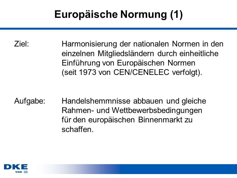 Europäische Normung (1) Ziel:Harmonisierung der nationalen Normen in den einzelnen Mitgliedsländern durch einheitliche Einführung von Europäischen Normen (seit 1973 von CEN/CENELEC verfolgt).