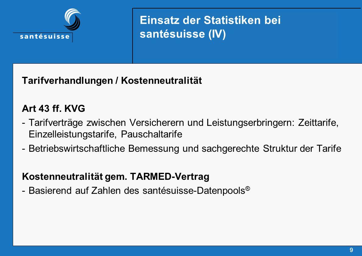 9 Einsatz der Statistiken bei santésuisse (IV) Tarifverhandlungen / Kostenneutralität Art 43 ff.