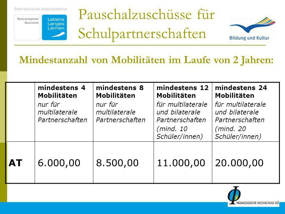 11 Pauschalzuschüsse für Schulpartnerschaften mindestens 4 Mobilitäten nur für multilaterale Partnerschaften mindestens 8 Mobilitäten nur für multilaterale Partnerschaften mindestens 12 Mobilitäten für multilaterale und bilaterale Partnerschaften (mind.