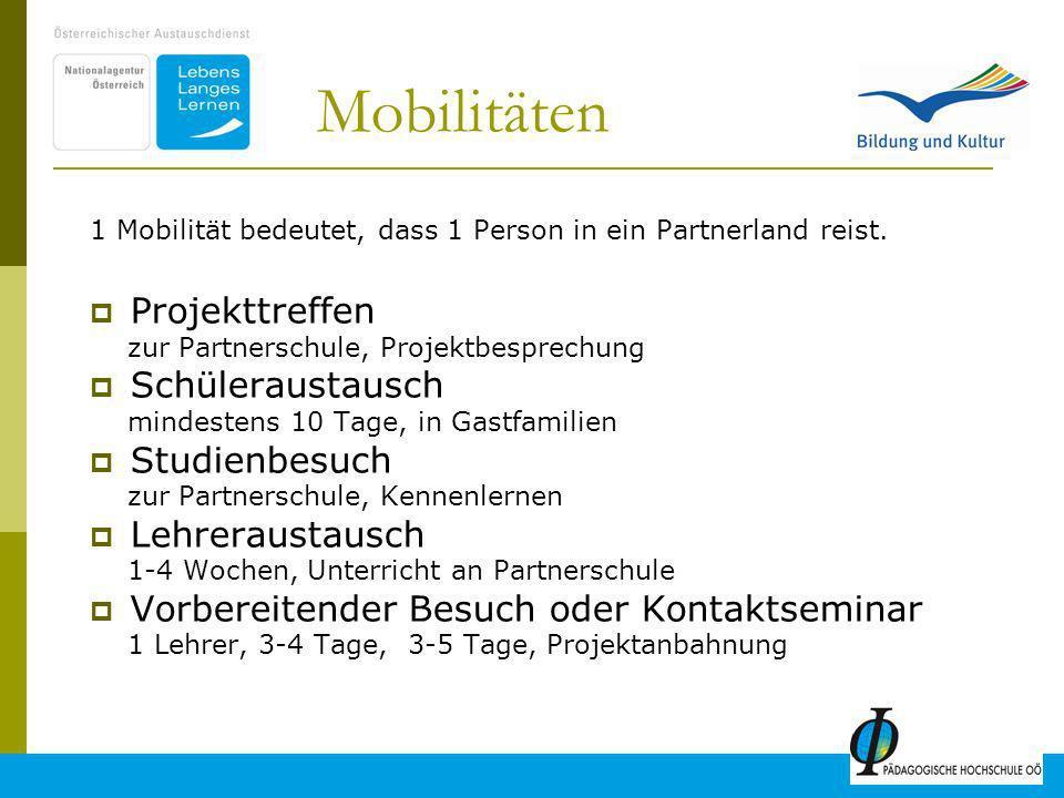 13 Mobilitäten 1 Mobilität bedeutet, dass 1 Person in ein Partnerland reist.