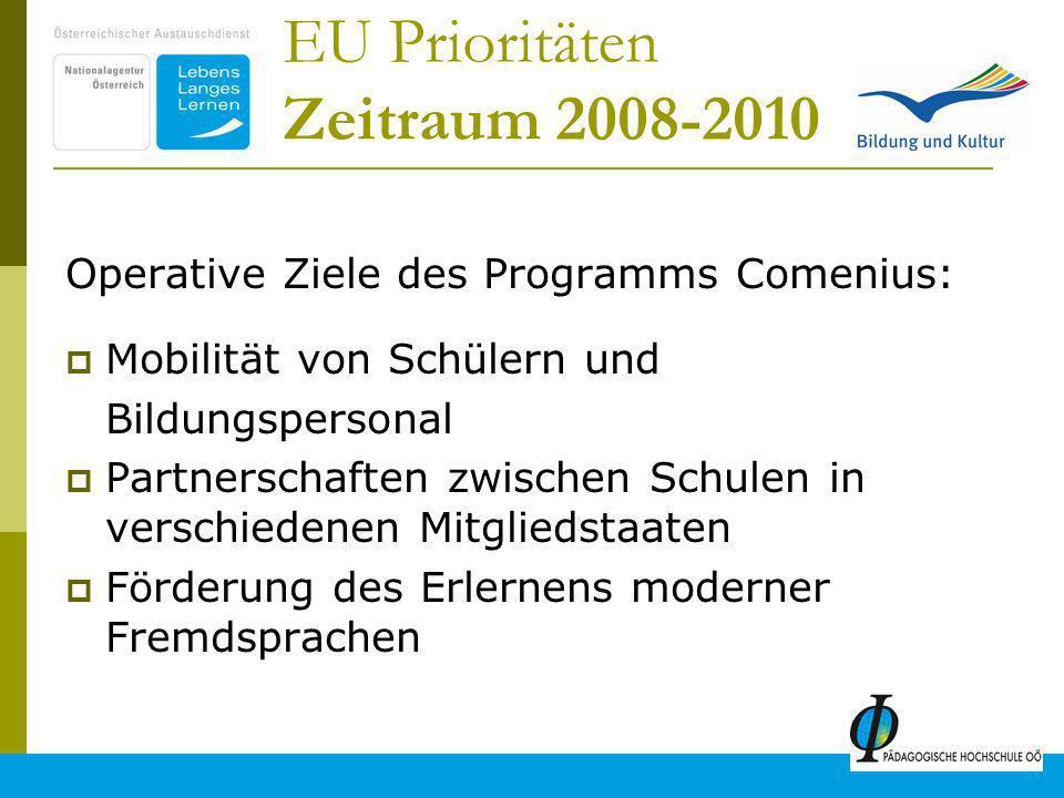 14 EU Prioritäten Zeitraum 2008-2010 Operative Ziele des Programms Comenius: Mobilität von Schülern und Bildungspersonal Partnerschaften zwischen Schulen in verschiedenen Mitgliedstaaten Förderung des Erlernens moderner Fremdsprachen