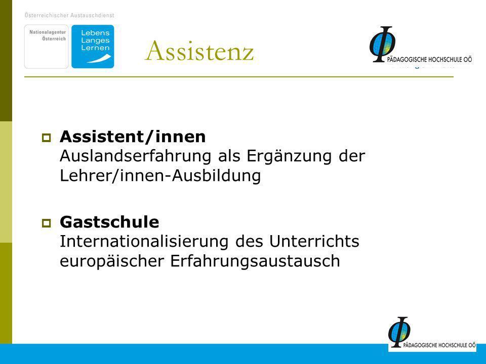 16 Assistenz Assistent/innen Auslandserfahrung als Ergänzung der Lehrer/innen-Ausbildung Gastschule Internationalisierung des Unterrichts europäischer Erfahrungsaustausch