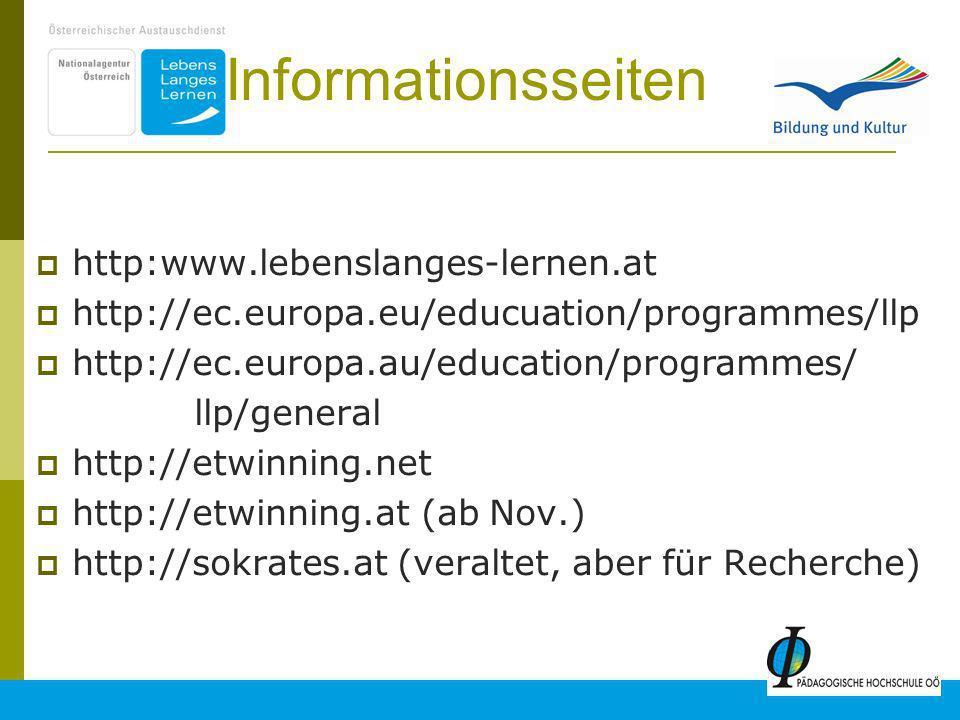 23 Informationsseiten http:www.lebenslanges-lernen.at http://ec.europa.eu/educuation/programmes/llp http://ec.europa.au/education/programmes/ llp/general http://etwinning.net http://etwinning.at (ab Nov.) http://sokrates.at (veraltet, aber für Recherche)