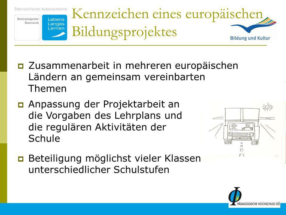 3 Kennzeichen eines europäischen Bildungsprojektes Zusammenarbeit in mehreren europäischen Ländern an gemeinsam vereinbarten Themen Anpassung der Projektarbeit an die Vorgaben des Lehrplans und die regulären Aktivitäten der Schule Beteiligung möglichst vieler Klassen unterschiedlicher Schulstufen