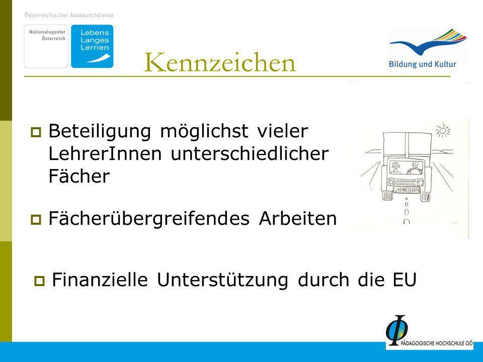 4 Kennzeichen Beteiligung möglichst vieler LehrerInnen unterschiedlicher Fächer Fächerübergreifendes Arbeiten Finanzielle Unterstützung durch die EU