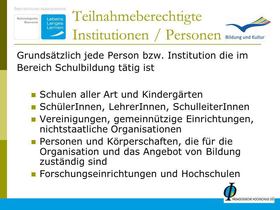 6 Teilnahmeberechtigte Institutionen / Personen Grundsätzlich jede Person bzw.