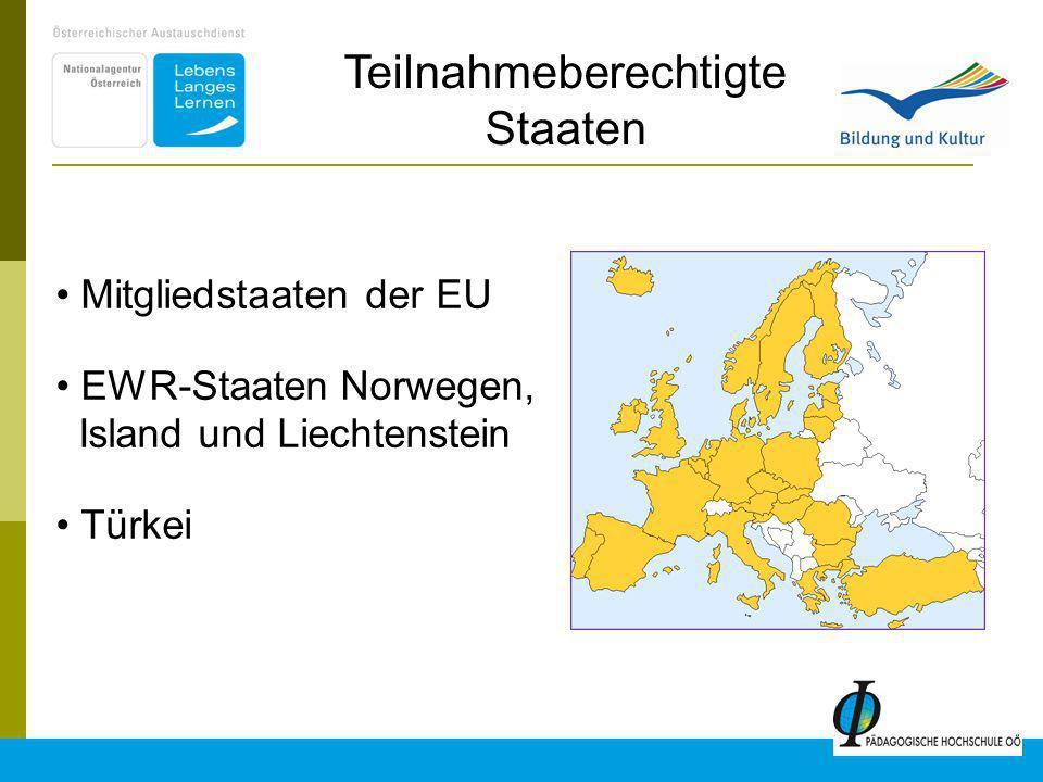 7 Mitgliedstaaten der EU EWR-Staaten Norwegen, Island und Liechtenstein Türkei Teilnahmeberechtigte Staaten