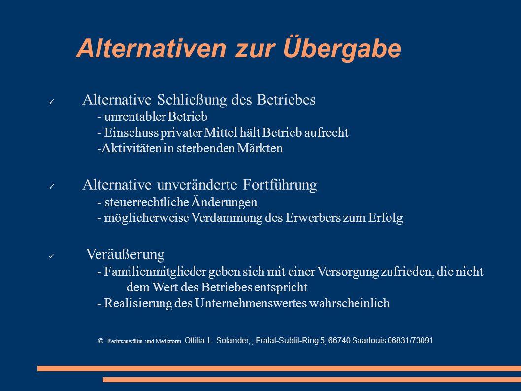 Alternativen zur Übergabe Alternative Schließung des Betriebes - unrentabler Betrieb - Einschuss privater Mittel hält Betrieb aufrecht -Aktivitäten in