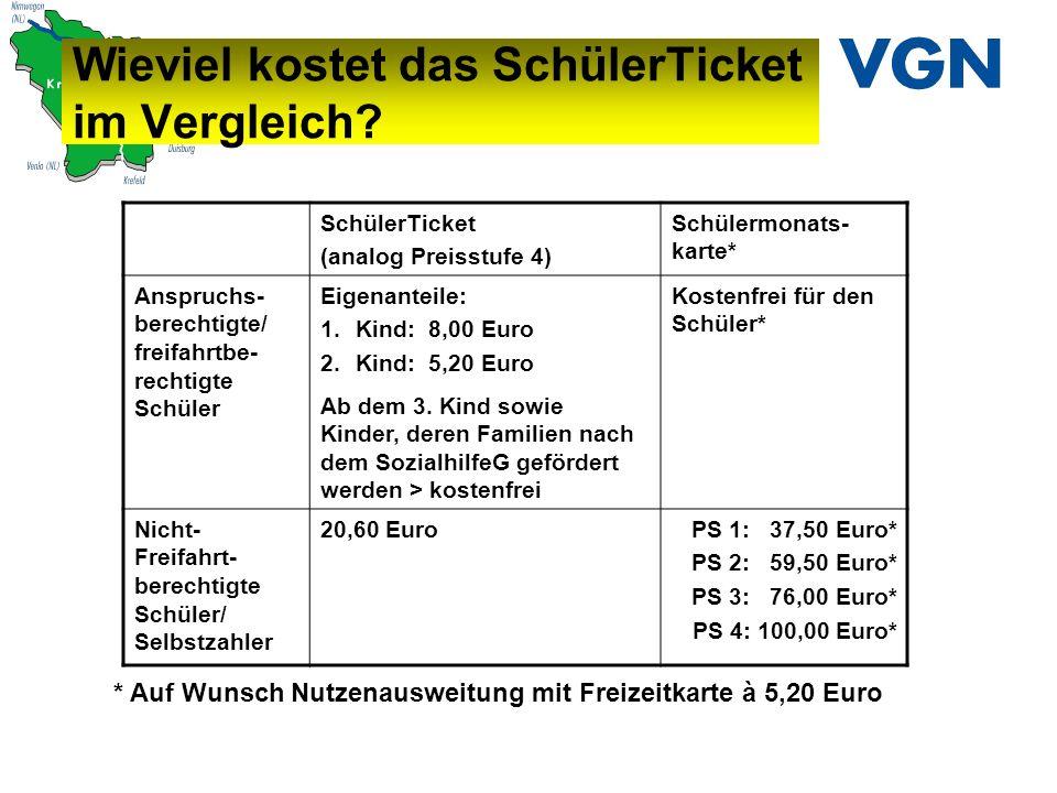 Wieviel kostet das SchülerTicket im Vergleich? * Auf Wunsch Nutzenausweitung mit Freizeitkarte à 5,20 Euro SchülerTicket (analog Preisstufe 4) Schüler
